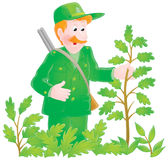 Forester. Isolated clipart illustration of a forest warden with his double-barrelled gun Stock Image