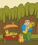 Forester. The forest warden feeds wood animals Royalty Free Stock Images
