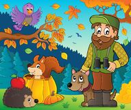Forester and autumn animals theme 1 Royalty Free Stock Photography