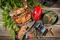 Forester lodge full of equipment for hunting Stock Photography