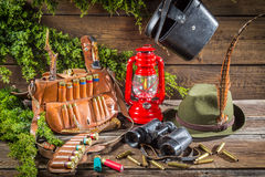Forester lodge full of hunting equipment Royalty Free Stock Image