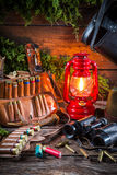 Forester lodge with a hunting equipment Stock Photos