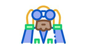 forester looking binoculars Icon Animation