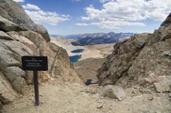 Forester Pass. 13200 foot Forester Pass entering Sequoia National Park on the John Muir Trail and the Pacific Crest Trail Stock Photo