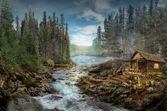 Forester's Cabin. By the river in the forest (illustration of a fictional situation, in the form collage of photos royalty free stock images