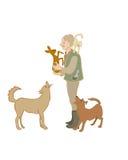 Forestier d'une cinquantaine d'années tenant un faon D'autres animaux : Le ¡ de Ð à est sur t Images libres de droits