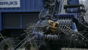 Forestry grinder. Close up on forestry grinder or chipper stock video footage