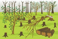 Forestry Industry Wood Logging Vector Illustration. For many purpose such as book illustration, info graphic, education purpose, etc royalty free illustration