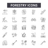Forestry line icons for web and mobile design. Editable stroke signs. Forestry  outline concept illustrations. Forestry line icons for web and mobile. Editable vector illustration