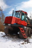Forestry logging truck. Tree felling in Scots Pine forest, Scotland Stock Image