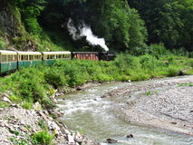 Forestry train. A leisure old steam train carrying tourists on the Vaser river valley in Viseu, Romania Stock Photography