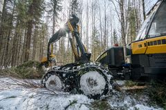 Forestry work. Image of modern log loader working Stock Photos