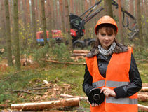 Forestry worker. Young and beautiful forestry engineer at work stock photography