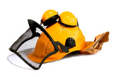 Forestry worker's helmet. On white background royalty free stock photos