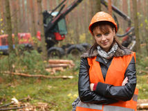 Forestry worker. Young and beautiful forestry engineer at work royalty free stock photo