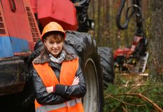 Forestry worker. Young and beautiful forestry engineer at work stock images