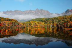 Forests of colorful foliage reflected on Kagami Ike ( Mirror Pond ) Royalty Free Stock Image