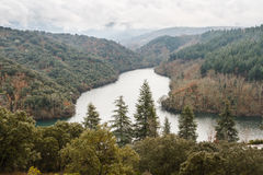 Forests and Montearenas Reservoir. Path of the stonecutters, The Bierzo. Stock Images