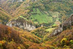 Autumn landscape in Cernei Mountains Stock Images