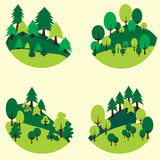 Forests trees and pines cut out in the form of a circle stock photography