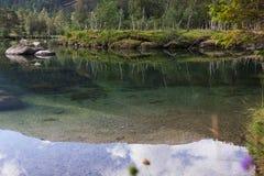 Forestsee mit absolut klarem Wasser stockbild