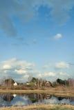 Forestsee und Dorf auf einer Küste Stockfotos