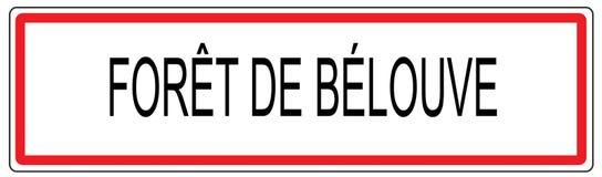 Foret de Belouve απεικόνιση σημαδιών κυκλοφορίας πόλεων στη Γαλλία Στοκ εικόνα με δικαίωμα ελεύθερης χρήσης
