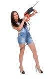 Foret de marteau de fixation de femme Photographie stock libre de droits