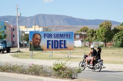 Forever Fidel, Santiago street view Royalty Free Stock Images