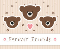 Forever Friends. Sign with teddy bear heads vector illustration
