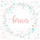 forever Het met de hand geschreven romantische citaat van letters voorzien Stock Afbeeldingen