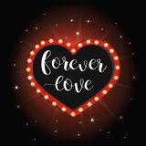 Forever love banner neon light heart. Vector romantic vintage Stock Images