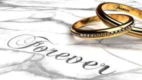 Forever love, eternally together, long lasting marriage. Forever love, eternally together, engagement rings joined together with engraved word `forever` on a Stock Photography