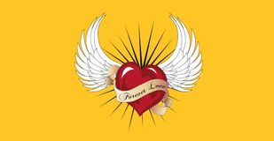 Forever love is flying with a pair of angel wings. Stock Photography
