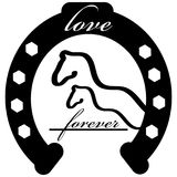 Forever love icon with horse shoe isolated on white background. Vector illustration Stock Images