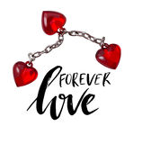 Forever love. Valentines day greeting card with calligraphy and heart. Hand drawn design elements. Handwritten modern Royalty Free Stock Photo
