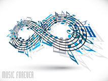 Forever music concept, infinity symbol made with musical notes a. Nd treble clef, blue expressive shape design, rotated in 3d, idea for your music theme design Royalty Free Stock Photo