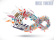 Forever music concept, infinity symbol made with musical notes a Royalty Free Stock Photos