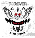 Forever Rock-n-Roll Poster Vector Illustration. Forever rock-n-roll poster with winged skull punk hairstyle. Horned hand gesture and bone. Electric guitars top stock illustration