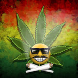 Forever smiling. Illustration forever smiling and symbol of marijuana as abstract background Stock Images