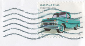 2016 Forever Stamp 1965 Ford Pickup. Double United States of America First Class stamp featuring the American flag and The White House. 200 year anniversary Royalty Free Stock Photography