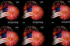 Forever stamps. USA flag on postage stamps Stock Photography