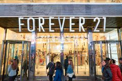 Forever 21 store. NEW YORK - MARCH 19, 2016: entryway of Forever 21 in New-York. Forever 21 is an American chain of fast fashion retailers with its headquarters royalty free stock image