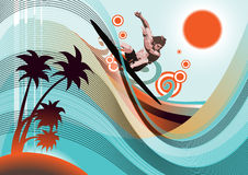 Forever summer beach. Surfer in the beach.Retro style background for your sport event promotion Stock Photography