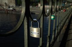 Forever Together. Some of the padlocks left by visitors to the Vyšehrad Railway Bridge in Prague, Czech Republic royalty free stock image