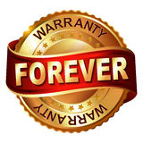 Forever warranty golden label with ribbon. Royalty Free Stock Photography