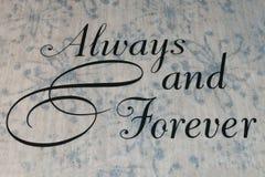 Always and forever wedding aisle runner. On carpet flooring royalty free stock images