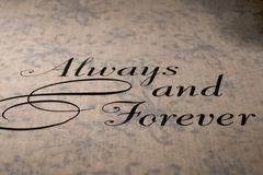 Always and forever wedding aisle runner. On carpet flooring royalty free stock photography