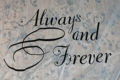 Always and forever wedding aisle runner. On carpet flooring royalty free stock photo