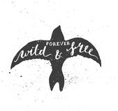 Forever wild and free lettering in bird. Stock Images